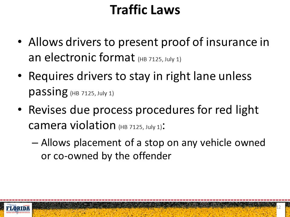 Allows drivers to present proof of insurance in an electronic format (HB 7125, July 1) Requires drivers to stay in right lane unless passing (HB 7125,