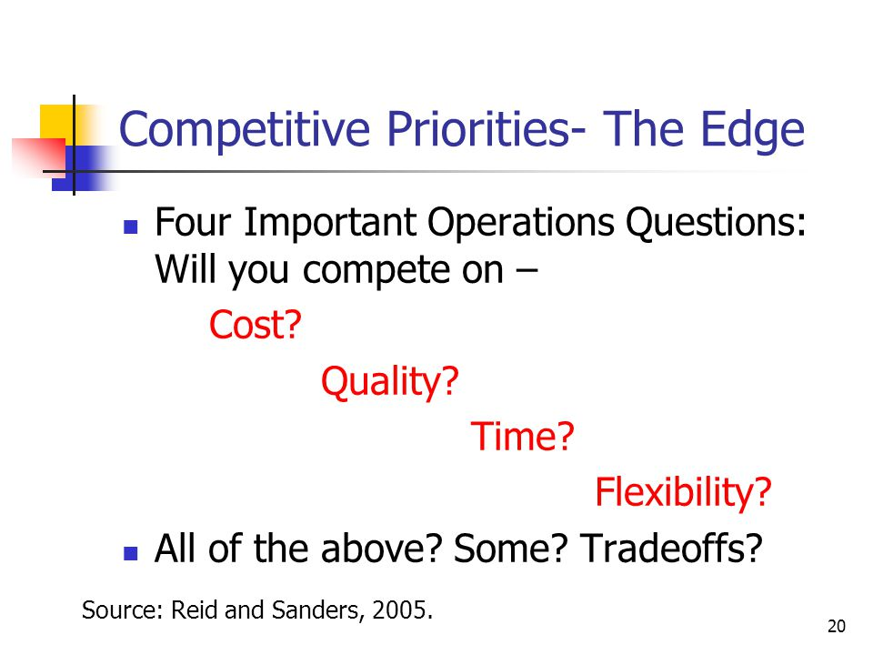 20 Competitive Priorities- The Edge Four Important Operations Questions: Will you compete on – Cost? Quality? Time? Flexibility? All of the above? Som