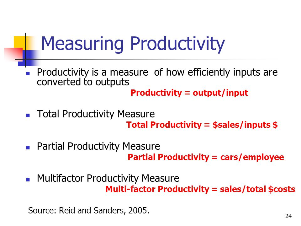24 Measuring Productivity Productivity is a measure of how efficiently inputs are converted to outputs Productivity = output/input Total Productivity