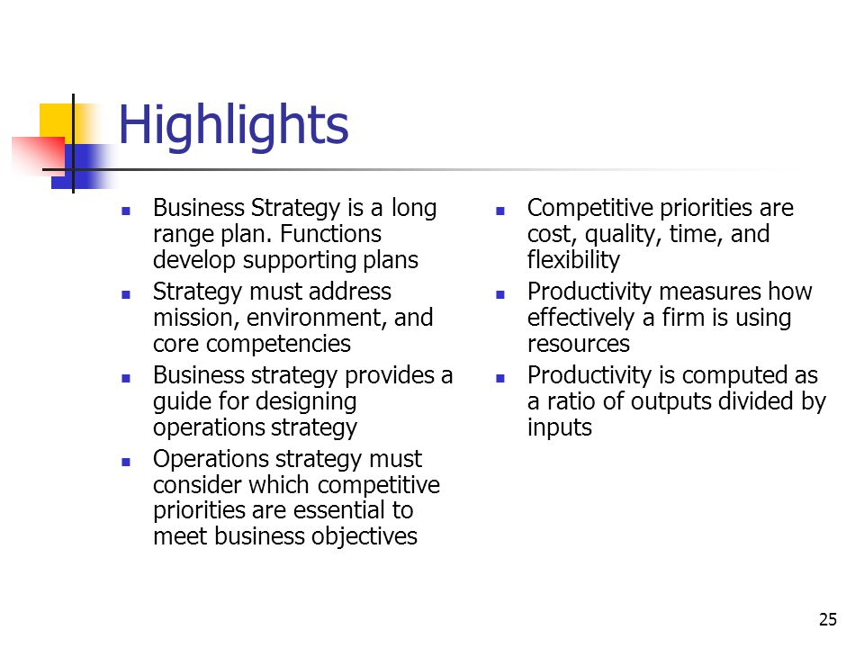 25 Highlights Business Strategy is a long range plan. Functions develop supporting plans Strategy must address mission, environment, and core competen