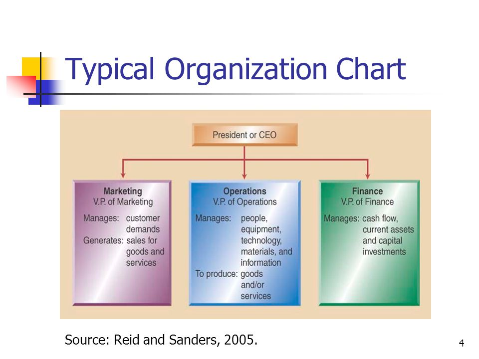 4 Typical Organization Chart Source: Reid and Sanders, 2005.