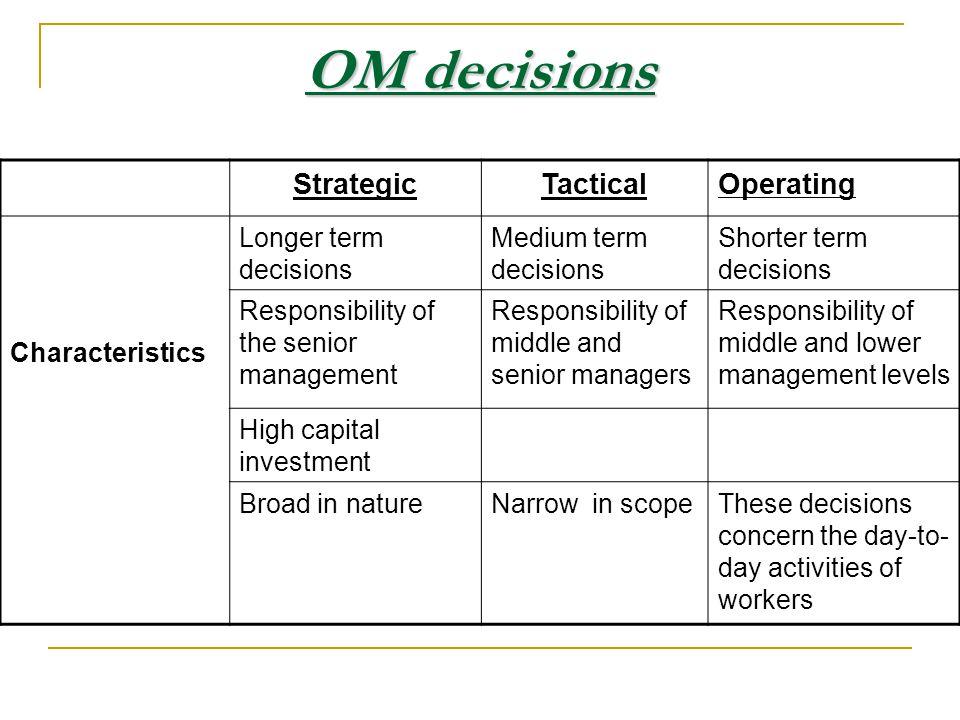 Operational decisions short time horizon Involves a short time horizon.