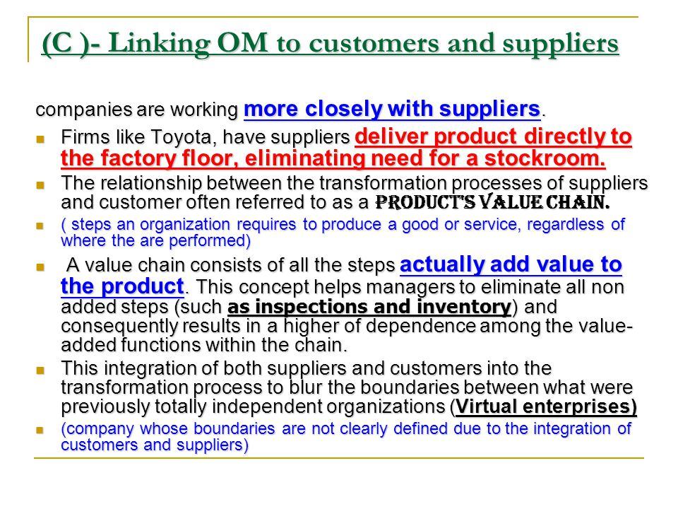 (C )- Linking OM to customers and suppliers In the past internal function that had buffered from the external environment by other organizational functions.