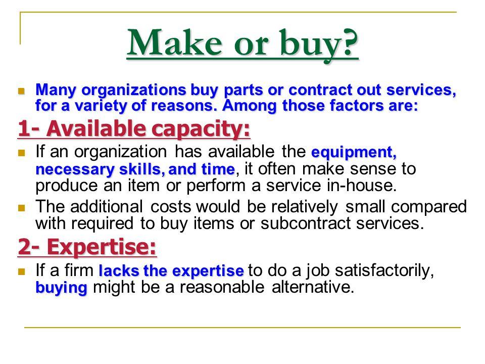 7- Make or buy? CapacityExpertiseQualityDemandCostRisk