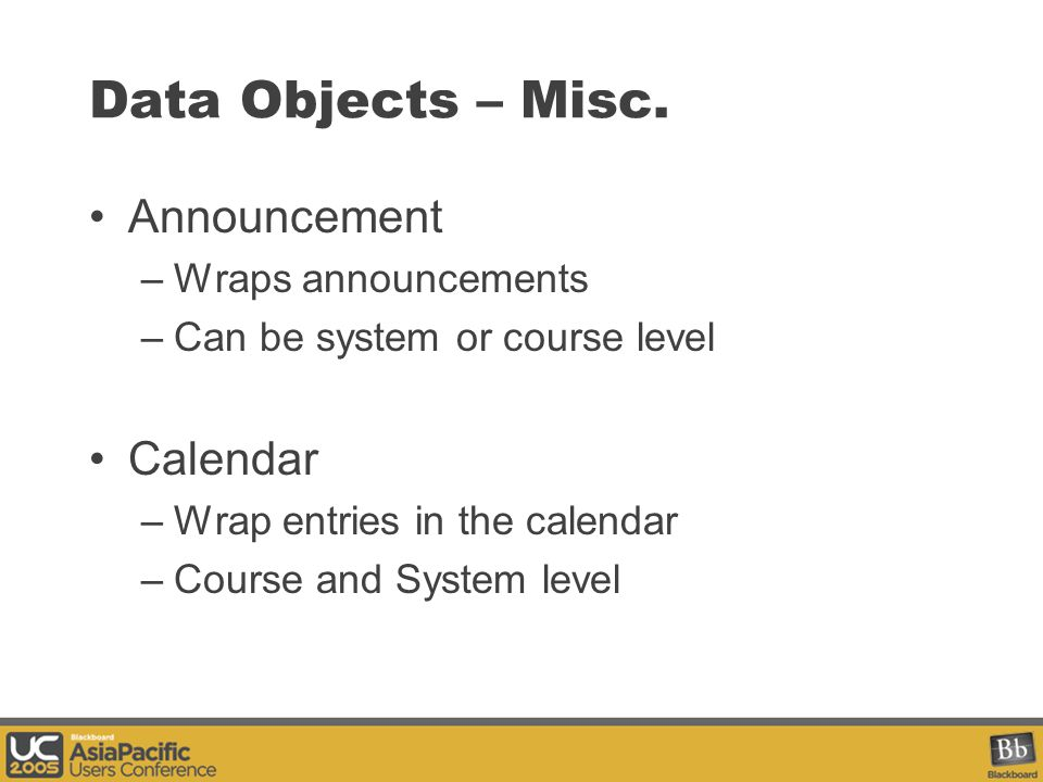 Data Objects – Misc.