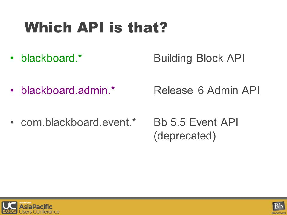 Building Block API Packages blackboard.data.blackboard.persist.