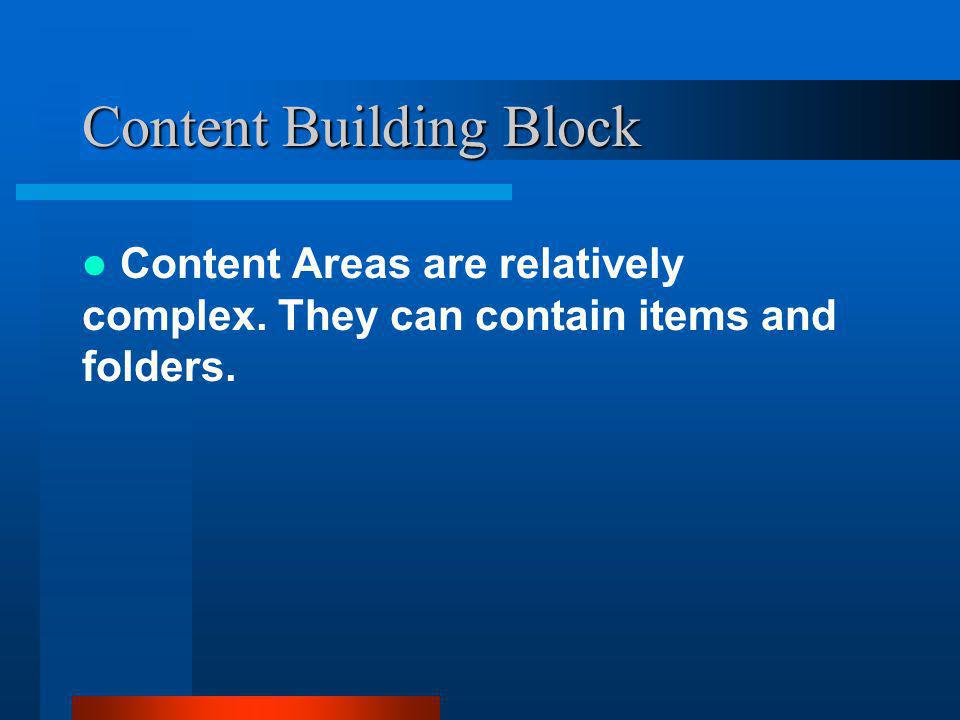 Content Areas are relatively complex. They can contain items and folders.