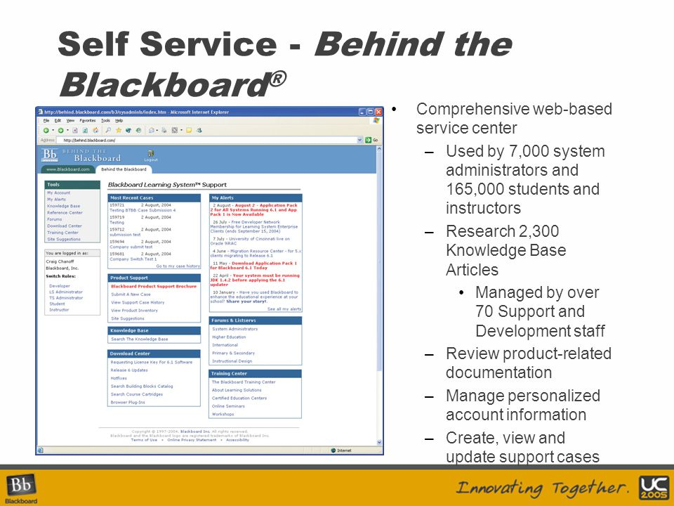Self Service - Behind the Blackboard ® Comprehensive web-based service center –Used by 7,000 system administrators and 165,000 students and instructor