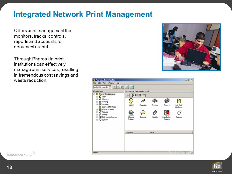 18 Integrated Network Print Management Offers print management that monitors, tracks, controls, reports and accounts for document output. Through Phar