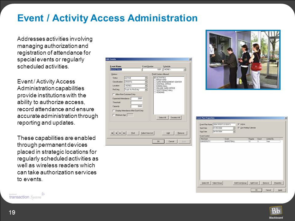 19 Event / Activity Access Administration Addresses activities involving managing authorization and registration of attendance for special events or r