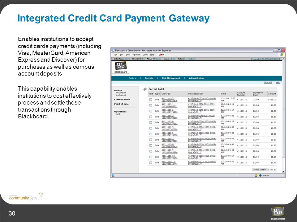 30 Integrated Credit Card Payment Gateway Enables institutions to accept credit cards payments (including Visa, MasterCard, American Express and Disco