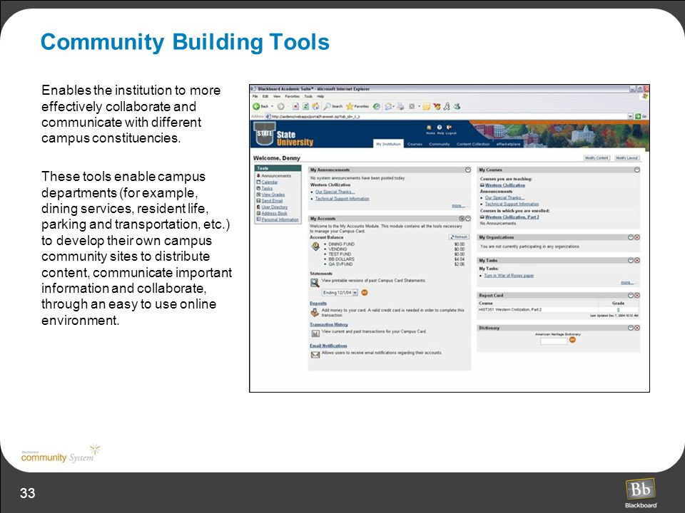 33 Community Building Tools Enables the institution to more effectively collaborate and communicate with different campus constituencies. These tools