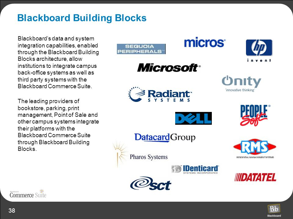 38 Blackboard Building Blocks Blackboard's data and system integration capabilities, enabled through the Blackboard Building Blocks architecture, allo