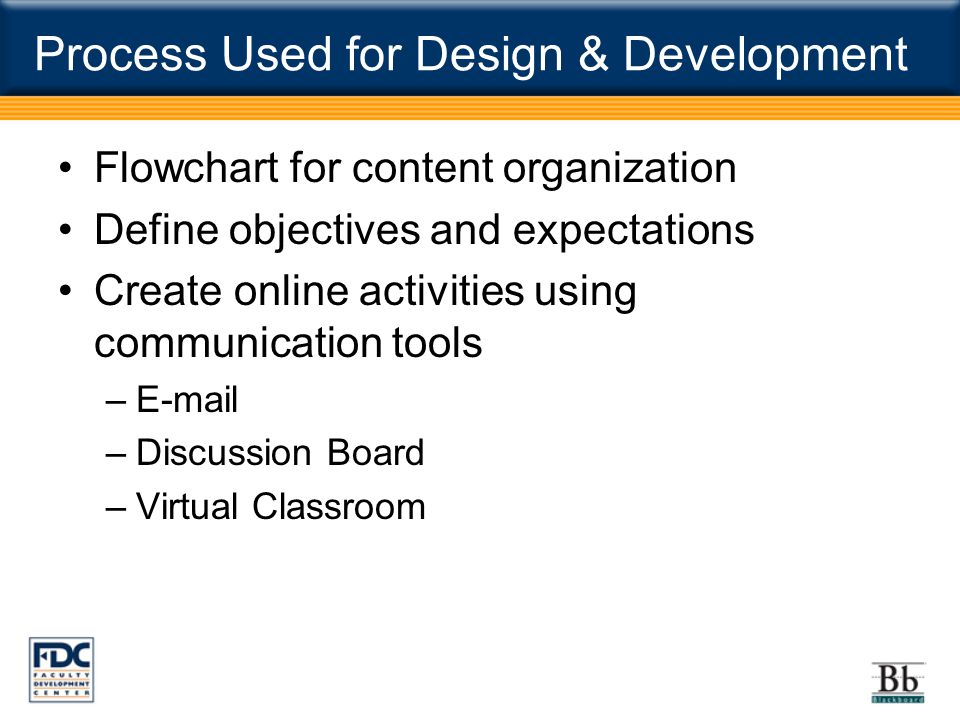 Process Used for Design & Development Flowchart for content organization Define objectives and expectations Create online activities using communication tools –E-mail –Discussion Board –Virtual Classroom