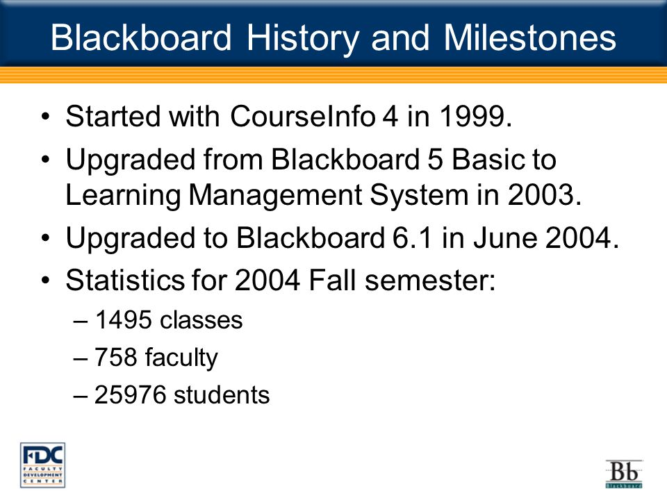 Blackboard History and Milestones Started with CourseInfo 4 in 1999.