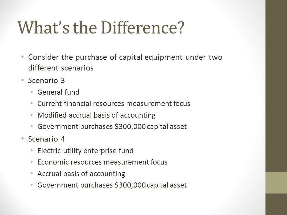 What's the Difference? Consider the purchase of capital equipment under two different scenarios Scenario 3 General fund Current financial resources me