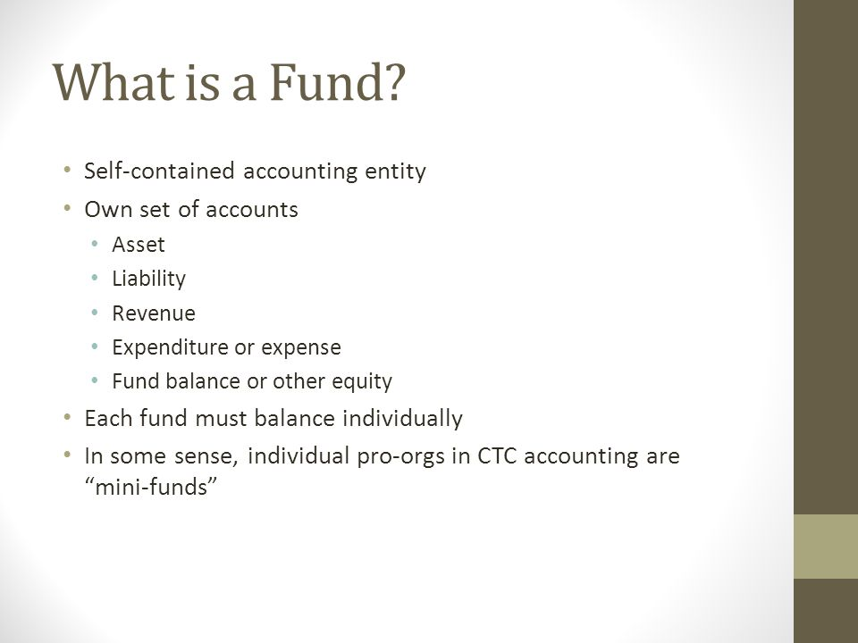 What is a Fund? Self-contained accounting entity Own set of accounts Asset Liability Revenue Expenditure or expense Fund balance or other equity Each