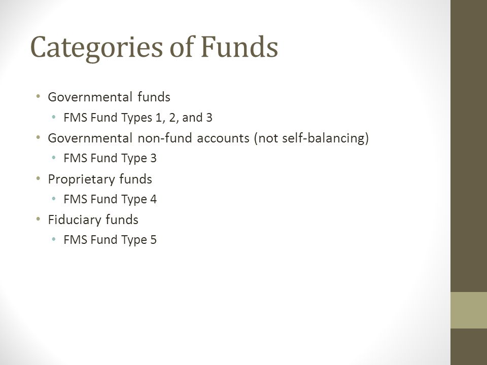 Categories of Funds Governmental funds FMS Fund Types 1, 2, and 3 Governmental non-fund accounts (not self-balancing) FMS Fund Type 3 Proprietary fund