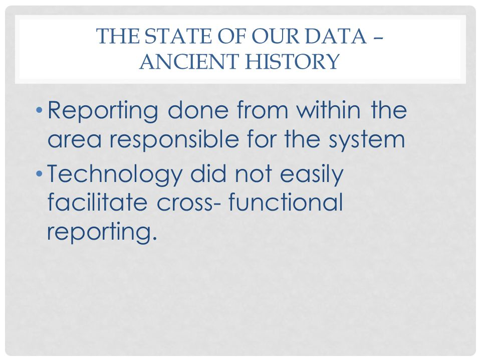 THE STATE OF OUR DATA – MODERN HISTORY Institutional Research (IR) Accountability (WSQA) Initiatives Student Achievement Achieving the Dream External data usage
