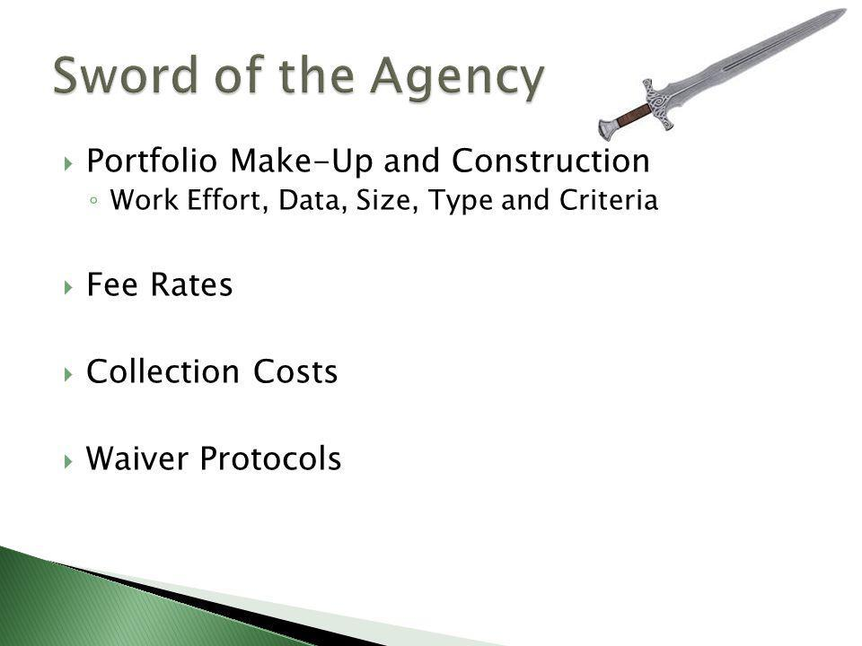  Portfolio Make-Up and Construction ◦ Work Effort, Data, Size, Type and Criteria  Fee Rates  Collection Costs  Waiver Protocols