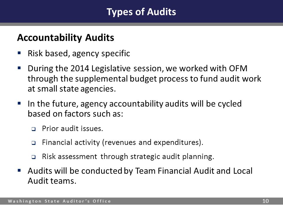 Washington State Auditor's Office 10 Accountability Audits  Risk based, agency specific  During the 2014 Legislative session, we worked with OFM thr