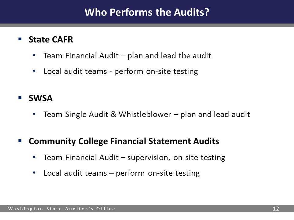 Washington State Auditor's Office 12  State CAFR Team Financial Audit – plan and lead the audit Local audit teams - perform on-site testing  SWSA Te