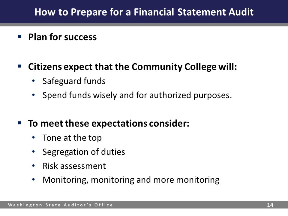 Washington State Auditor's Office 14  Plan for success  Citizens expect that the Community College will: Safeguard funds Spend funds wisely and for authorized purposes.