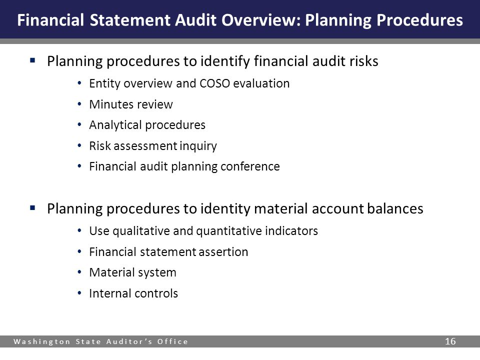 Washington State Auditor's Office 16  Planning procedures to identify financial audit risks Entity overview and COSO evaluation Minutes review Analyt