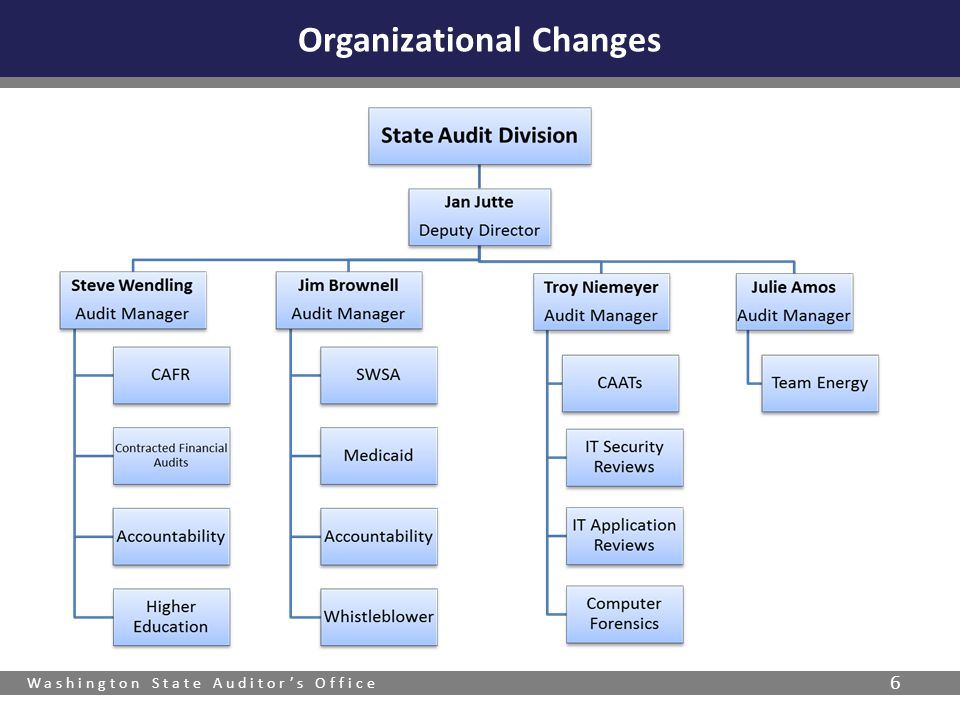 Washington State Auditor's Office 7 State of Washington Comprehensive Annual Financial Report (CAFR)  Includes higher education  Community college line items Cash Charges for Services Depreciable Assets Grants & Contributions Higher Education Expenses Federal Grants-in-aid Education Expenses Types of Audits