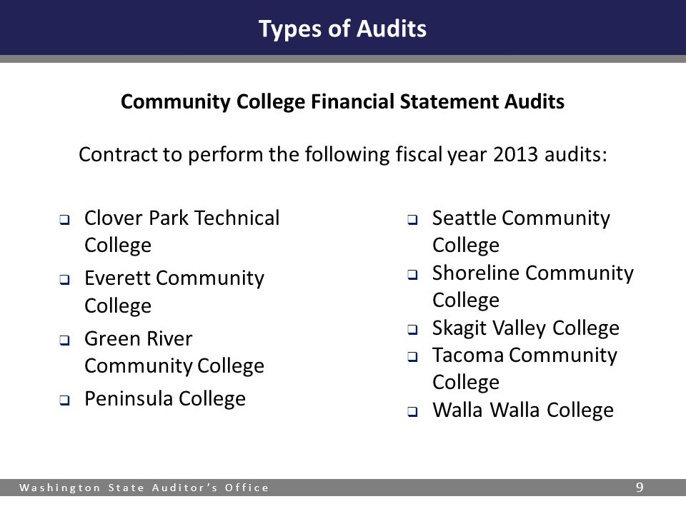 Washington State Auditor's Office 9 Types of Audits Community College Financial Statement Audits Contract to perform the following fiscal year 2013 audits:  Clover Park Technical College  Everett Community College  Green River Community College  Peninsula College  Seattle Community College  Shoreline Community College  Skagit Valley College  Tacoma Community College  Walla Walla College