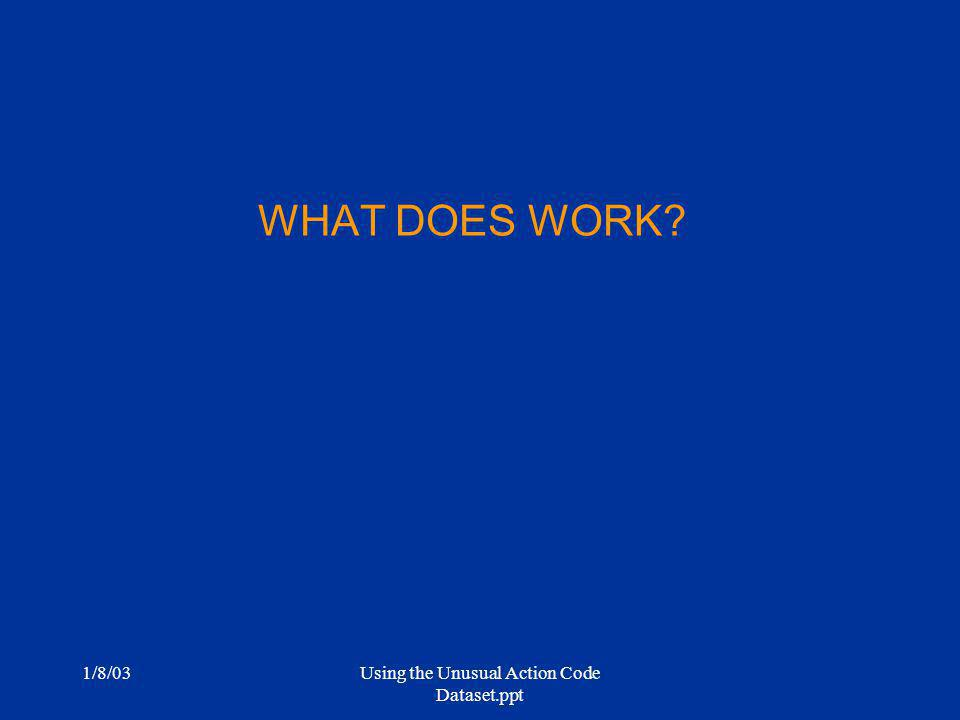 1/8/03Using the Unusual Action Code Dataset.ppt WHAT DOES WORK
