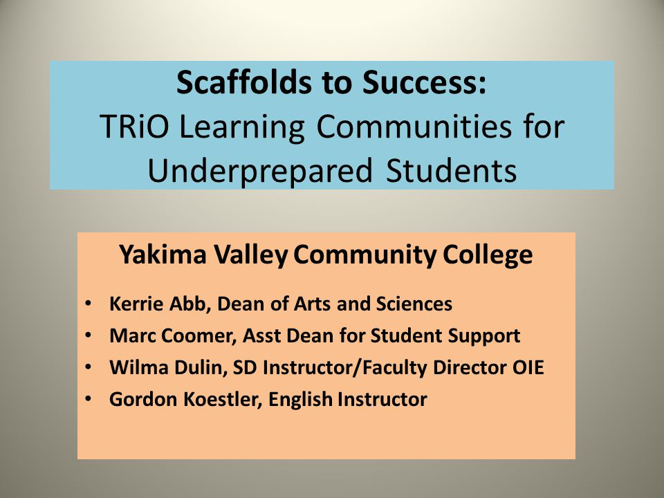 Scaffolds to Success: TRiO Learning Communities for Underprepared Students Yakima Valley Community College Kerrie Abb, Dean of Arts and Sciences Marc Coomer, Asst Dean for Student Support Wilma Dulin, SD Instructor/Faculty Director OIE Gordon Koestler, English Instructor