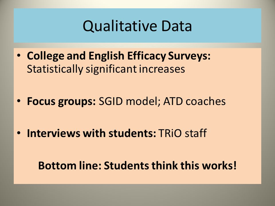 Qualitative Data College and English Efficacy Surveys: Statistically significant increases Focus groups: SGID model; ATD coaches Interviews with students: TRiO staff Bottom line: Students think this works!