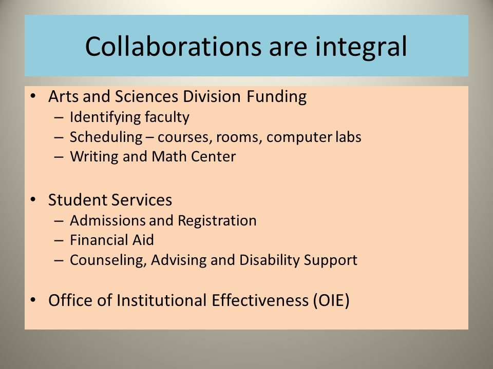 Collaborations are integral Arts and Sciences Division Funding – Identifying faculty – Scheduling – courses, rooms, computer labs – Writing and Math Center Student Services – Admissions and Registration – Financial Aid – Counseling, Advising and Disability Support Office of Institutional Effectiveness (OIE)