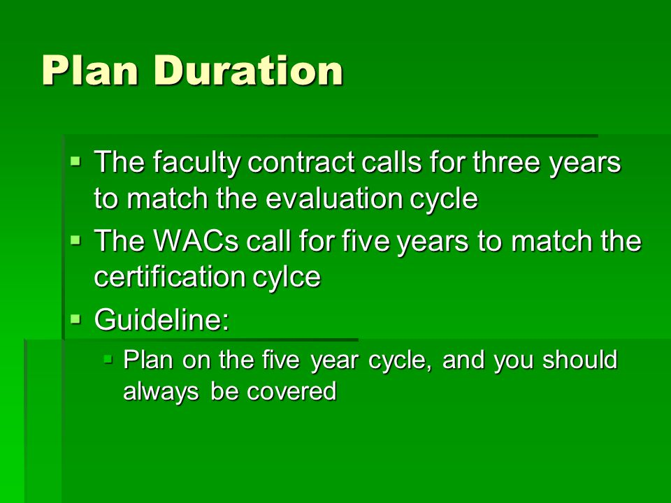 Plan Duration  The faculty contract calls for three years to match the evaluation cycle  The WACs call for five years to match the certification cylce  Guideline:  Plan on the five year cycle, and you should always be covered