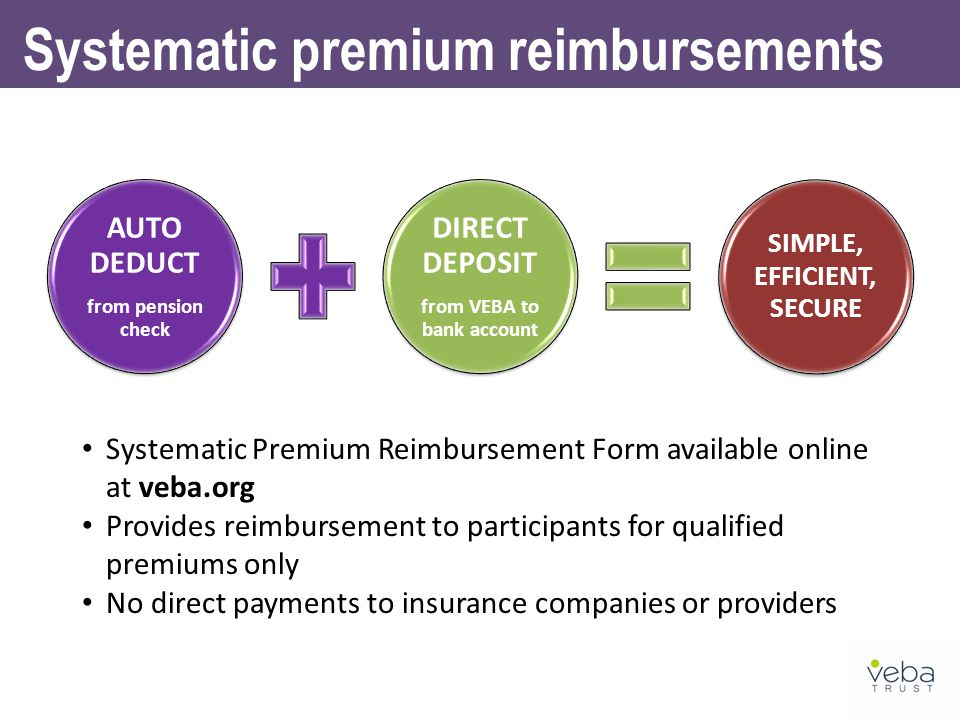 AUTO DEDUCT from pension check DIRECT DEPOSIT from VEBA to bank account SIMPLE, EFFICIENT, SECURE Systematic premium reimbursements Systematic Premium Reimbursement Form available online at veba.org Provides reimbursement to participants for qualified premiums only No direct payments to insurance companies or providers