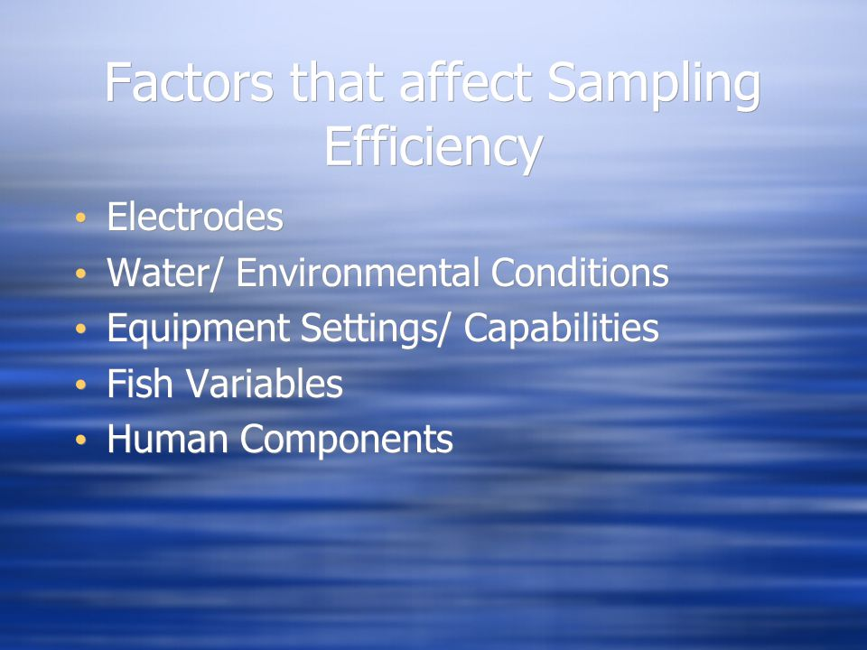 Factors that affect Sampling Efficiency Electrodes Water/ Environmental Conditions Equipment Settings/ Capabilities Fish Variables Human Components El