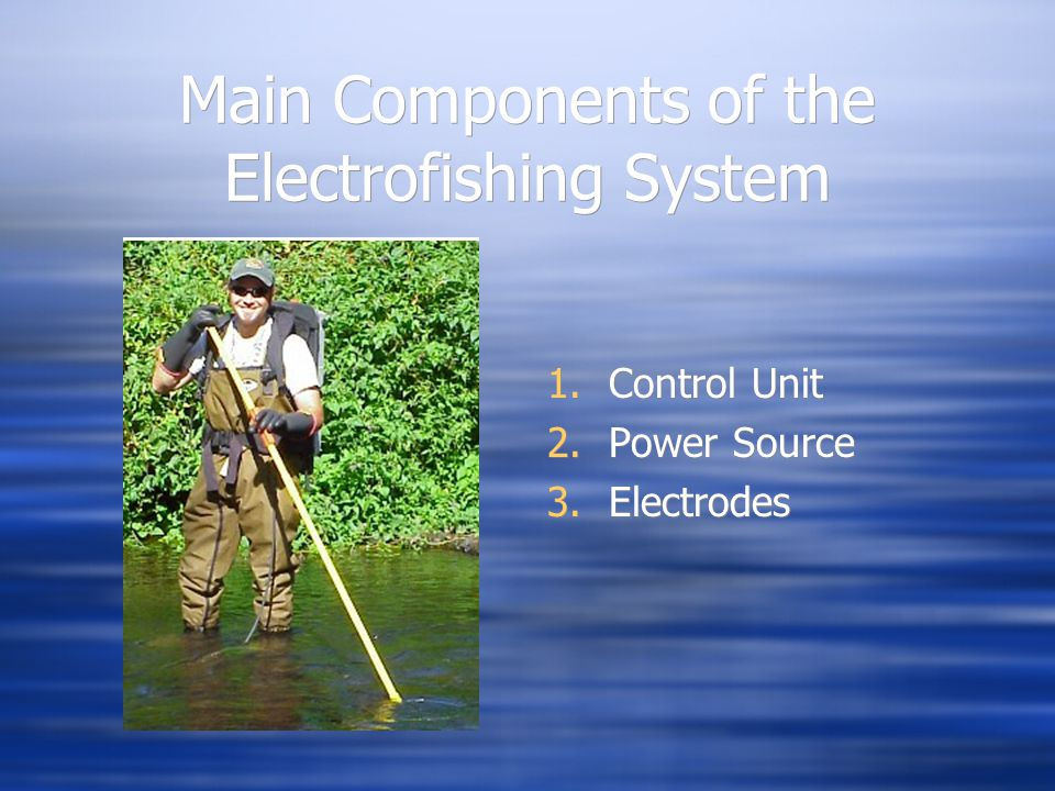 Main Components of the Electrofishing System 1.Control Unit 2.Power Source 3.Electrodes