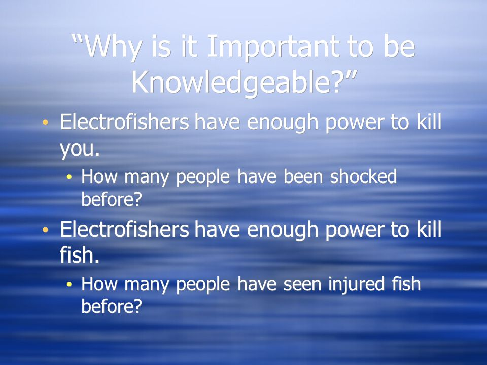 Why Should I Bother With Safety? All electrofishers have enough power to kill humans.