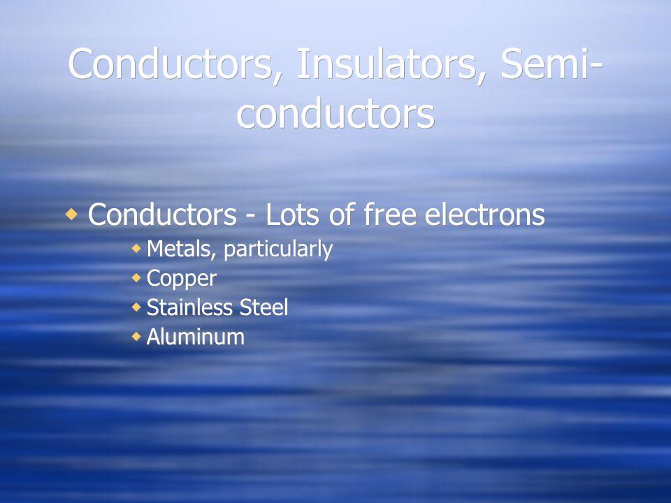 Conductors, Insulators, Semi- conductors, cont.