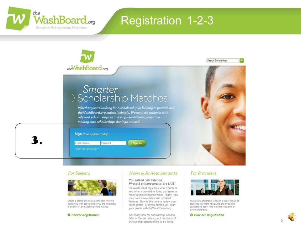 4 Registration 1-2-3 Washington Scholarship Coalition 2. help@theWashBoard.o rg