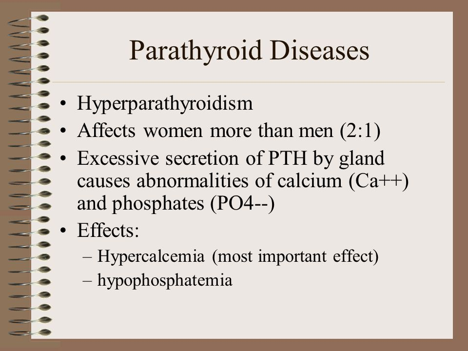 Parathyroid Diseases Hyperparathyroidism Affects women more than men (2:1) Excessive secretion of PTH by gland causes abnormalities of calcium (Ca++)