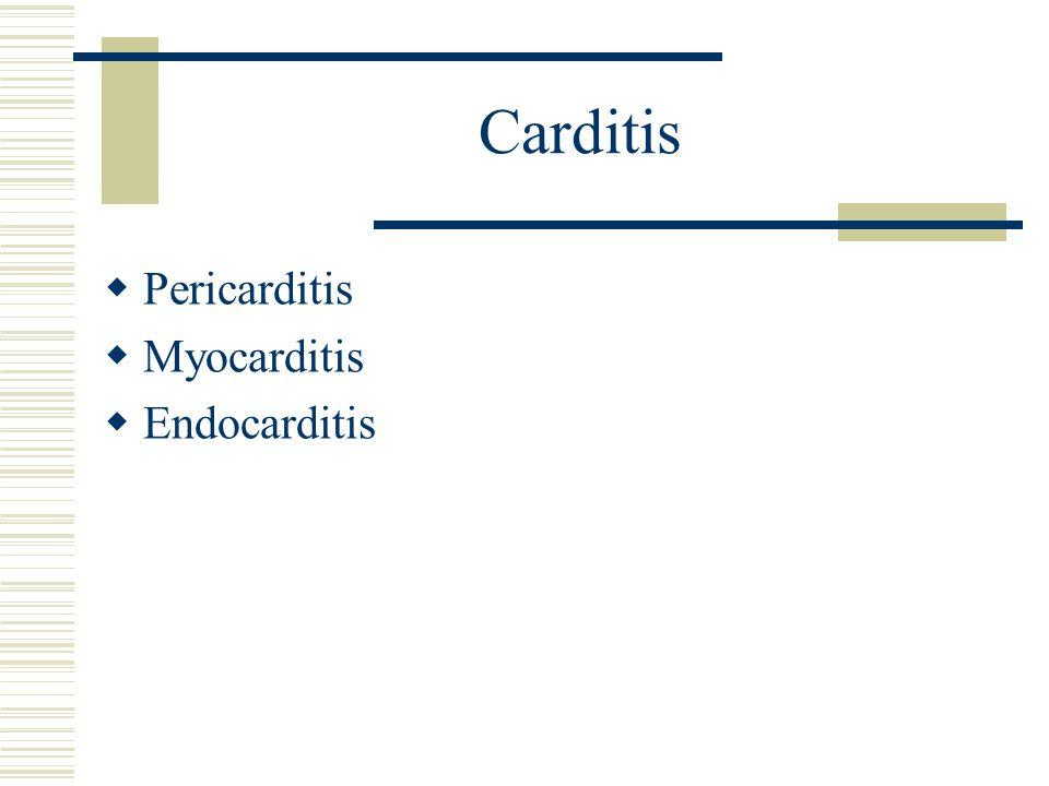 Carditis  Pericarditis  Myocarditis  Endocarditis