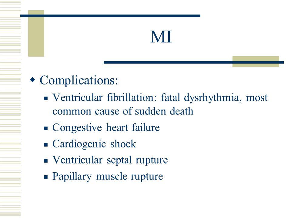 MI  Complications: Ventricular fibrillation: fatal dysrhythmia, most common cause of sudden death Congestive heart failure Cardiogenic shock Ventricu