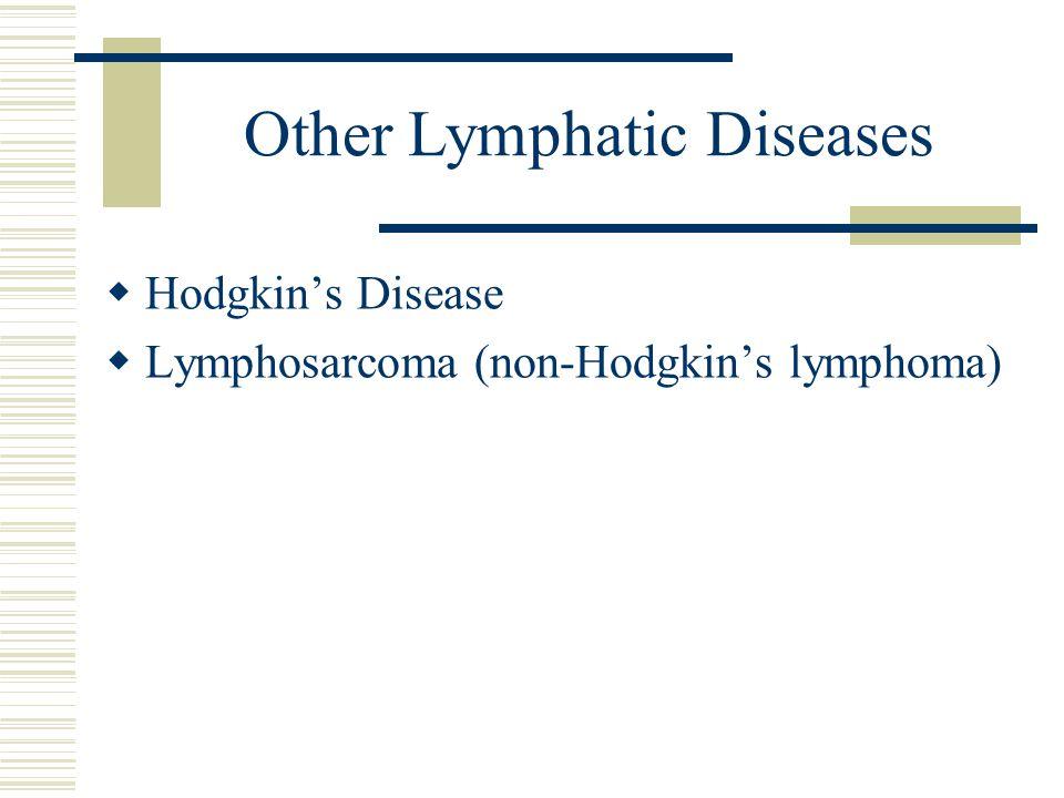 Other Lymphatic Diseases  Hodgkin's Disease  Lymphosarcoma (non-Hodgkin's lymphoma)