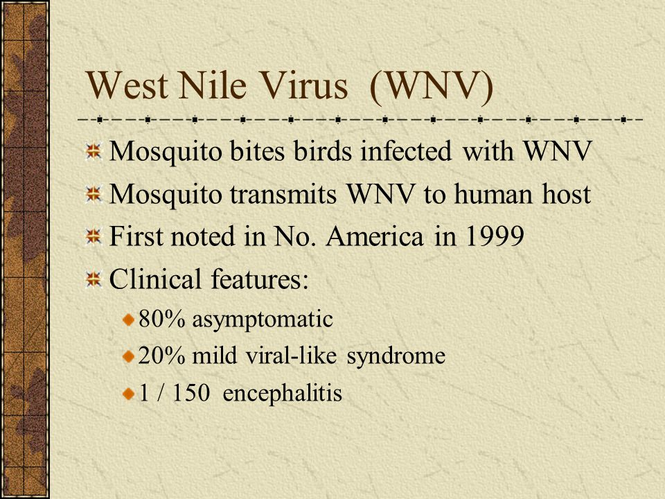 West Nile Virus (WNV) Mosquito bites birds infected with WNV Mosquito transmits WNV to human host First noted in No. America in 1999 Clinical features