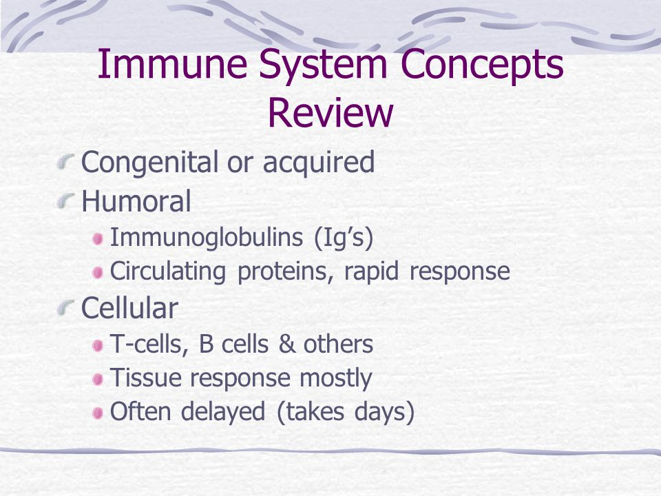 Immune System Concepts Review Congenital or acquired Humoral Immunoglobulins (Ig's) Circulating proteins, rapid response Cellular T-cells, B cells & o