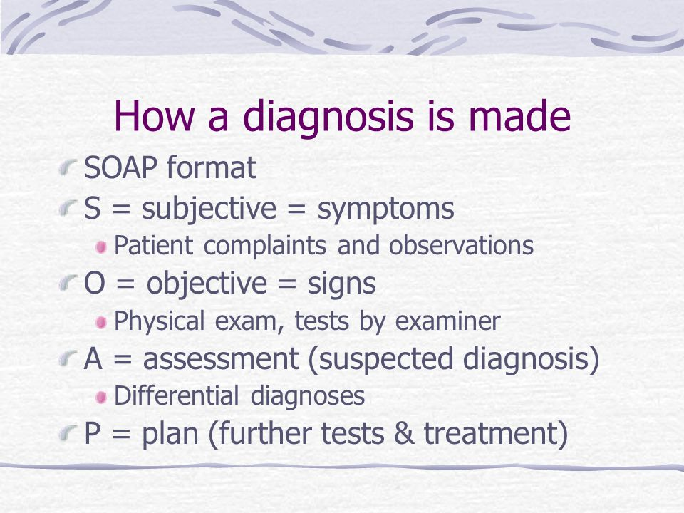 How a diagnosis is made SOAP format S = subjective = symptoms Patient complaints and observations O = objective = signs Physical exam, tests by examin