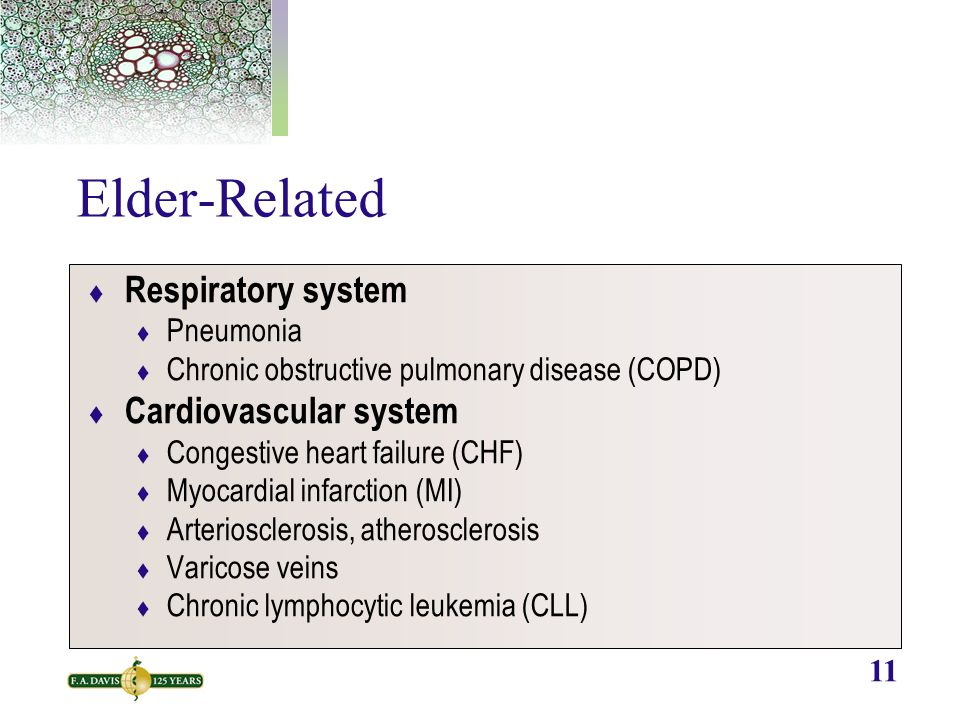 11 Elder-Related  Respiratory system  Pneumonia  Chronic obstructive pulmonary disease (COPD)  Cardiovascular system  Congestive heart failure (C