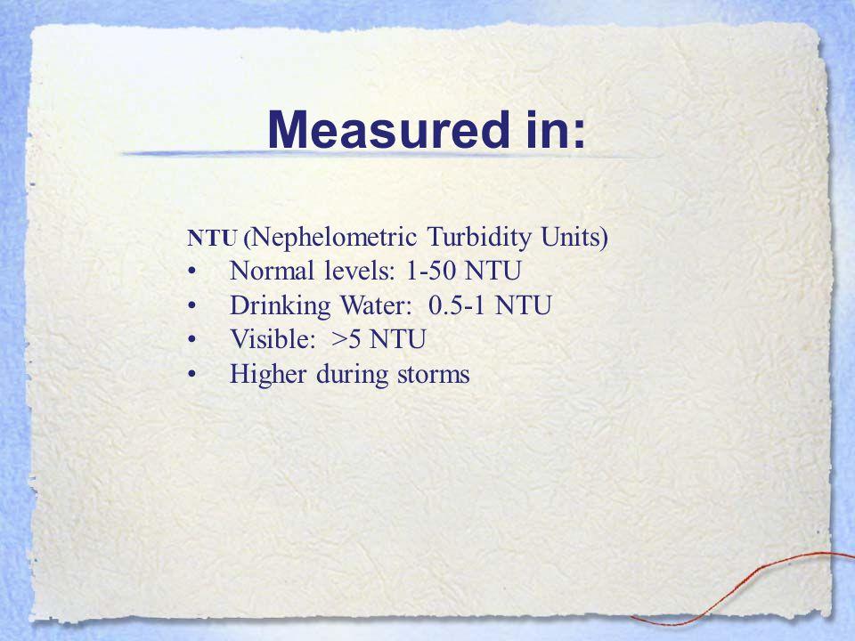 Measured in: NTU ( Nephelometric Turbidity Units) Normal levels: 1-50 NTU Drinking Water: 0.5-1 NTU Visible: >5 NTU Higher during storms